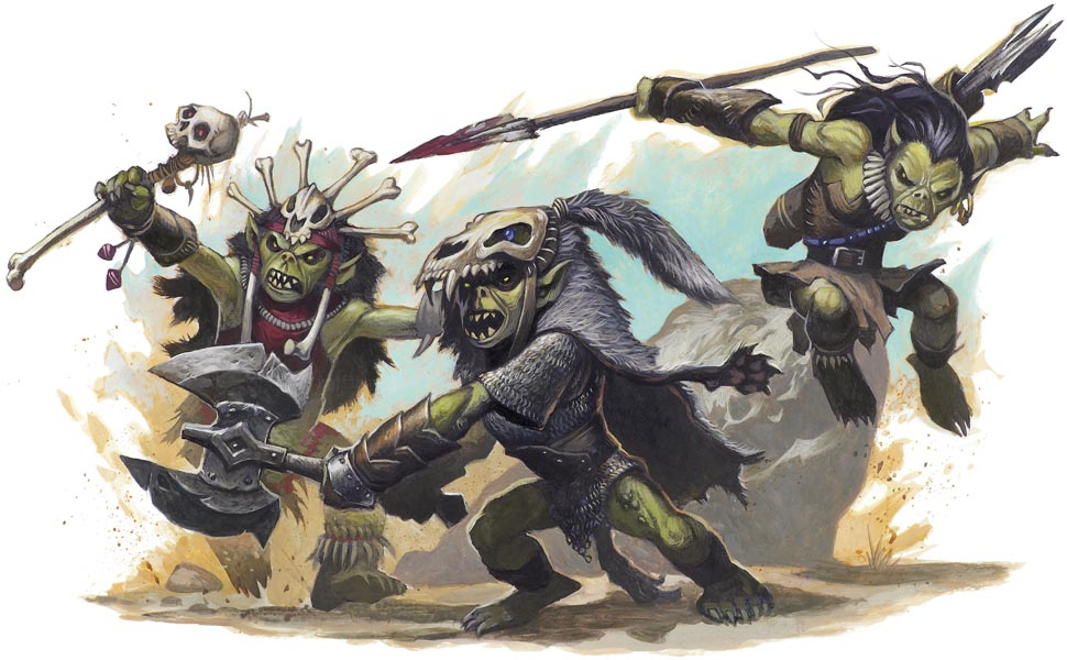 Goblin hexer  skullcleaver  and warrior