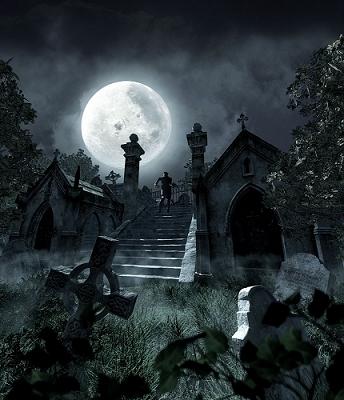 Graveyard witch night image