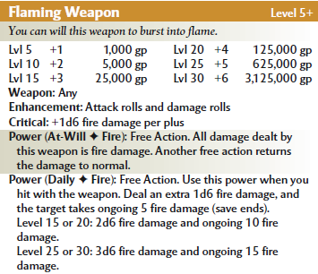 Flaming weapon