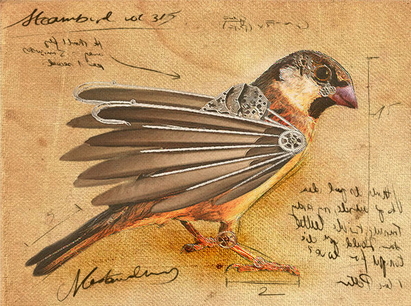 Steampunk bird by adrienne the ripper