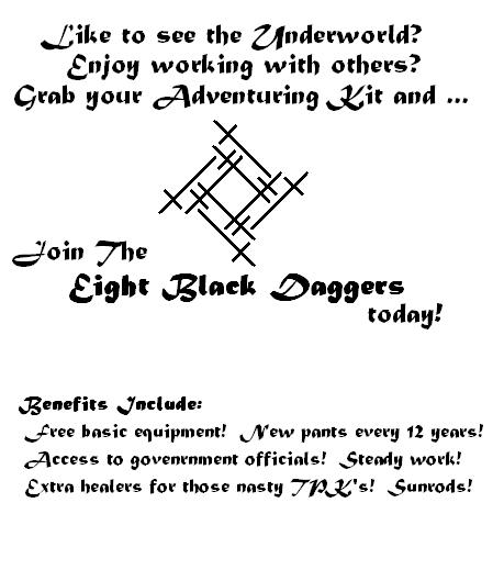 Eight black daggers