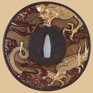 Tsuba dragon op