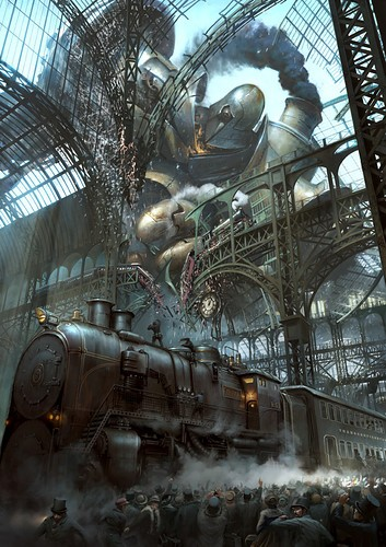 Art steampunk painting robot train illustration b60948d268c36ba1e2790d1035f686e5 h