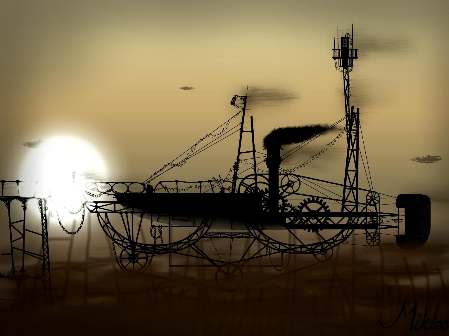 Steampunk airship by k miklas
