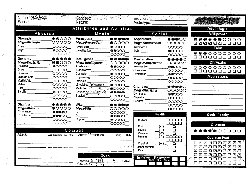 Aberrant character sheet page 1