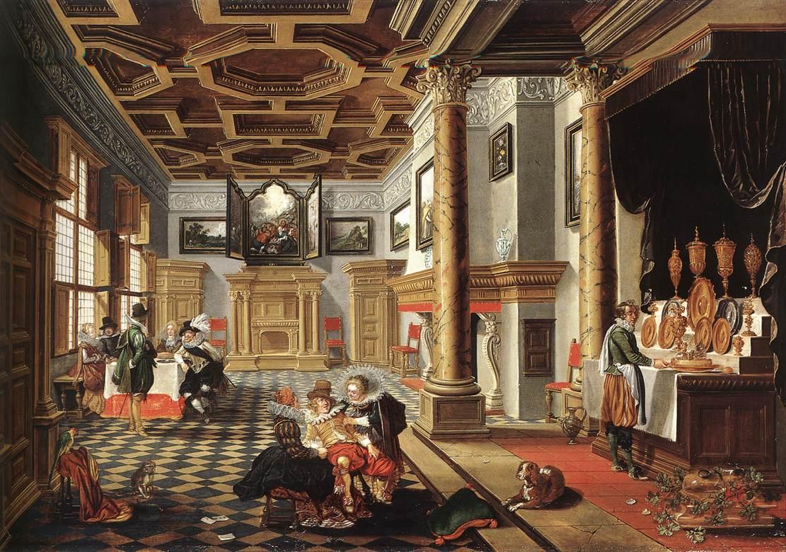 Bassen  bartholomeus van  renaissance interior with banqueters  1618 20