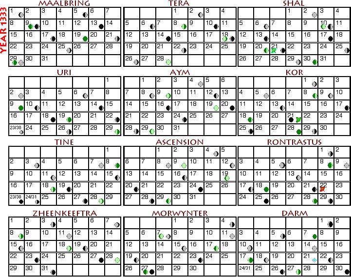 Calendar 1333