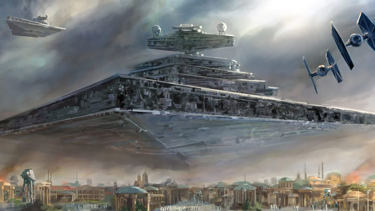 Star destroyer over the Romulan colony of Ekza