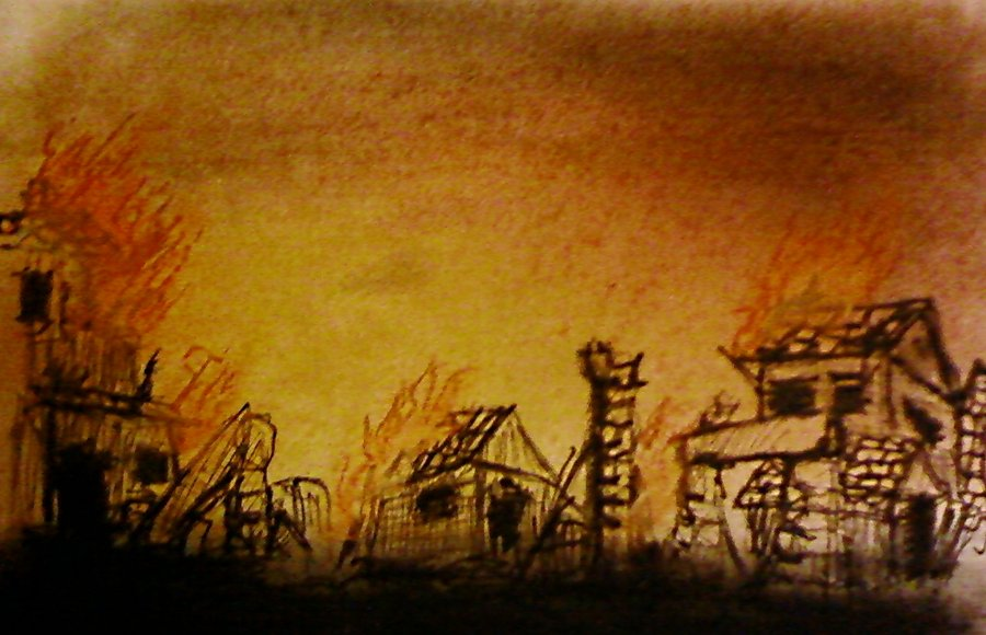 Burning village by dauryados