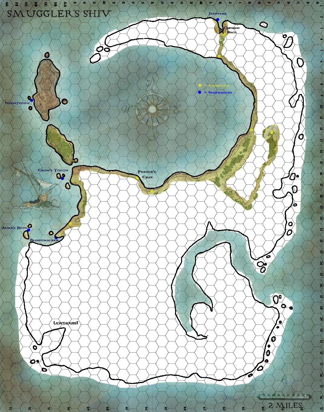 Smugglers shiv map