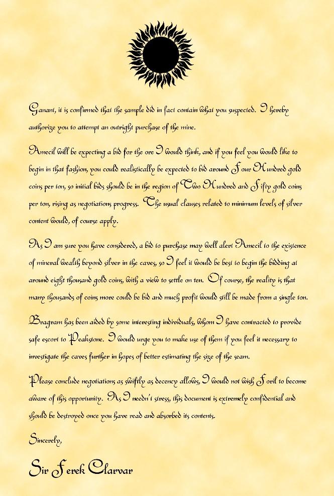Letter to ganant