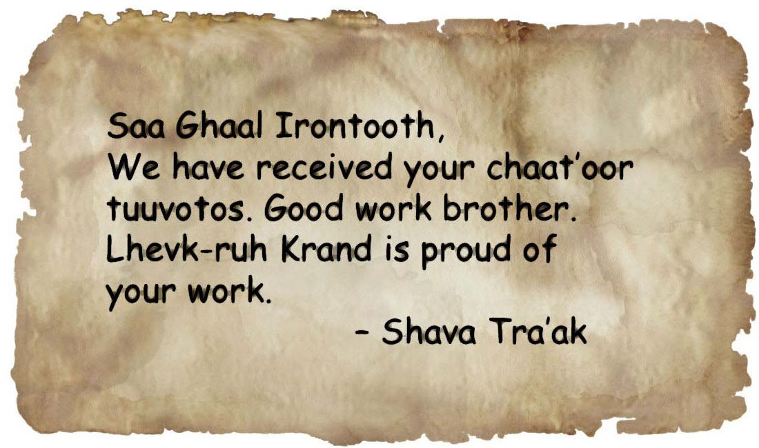 Letter from tra ak to irontooth