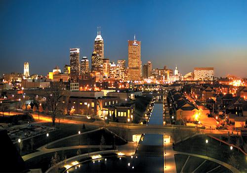 Indianapolis skyline night