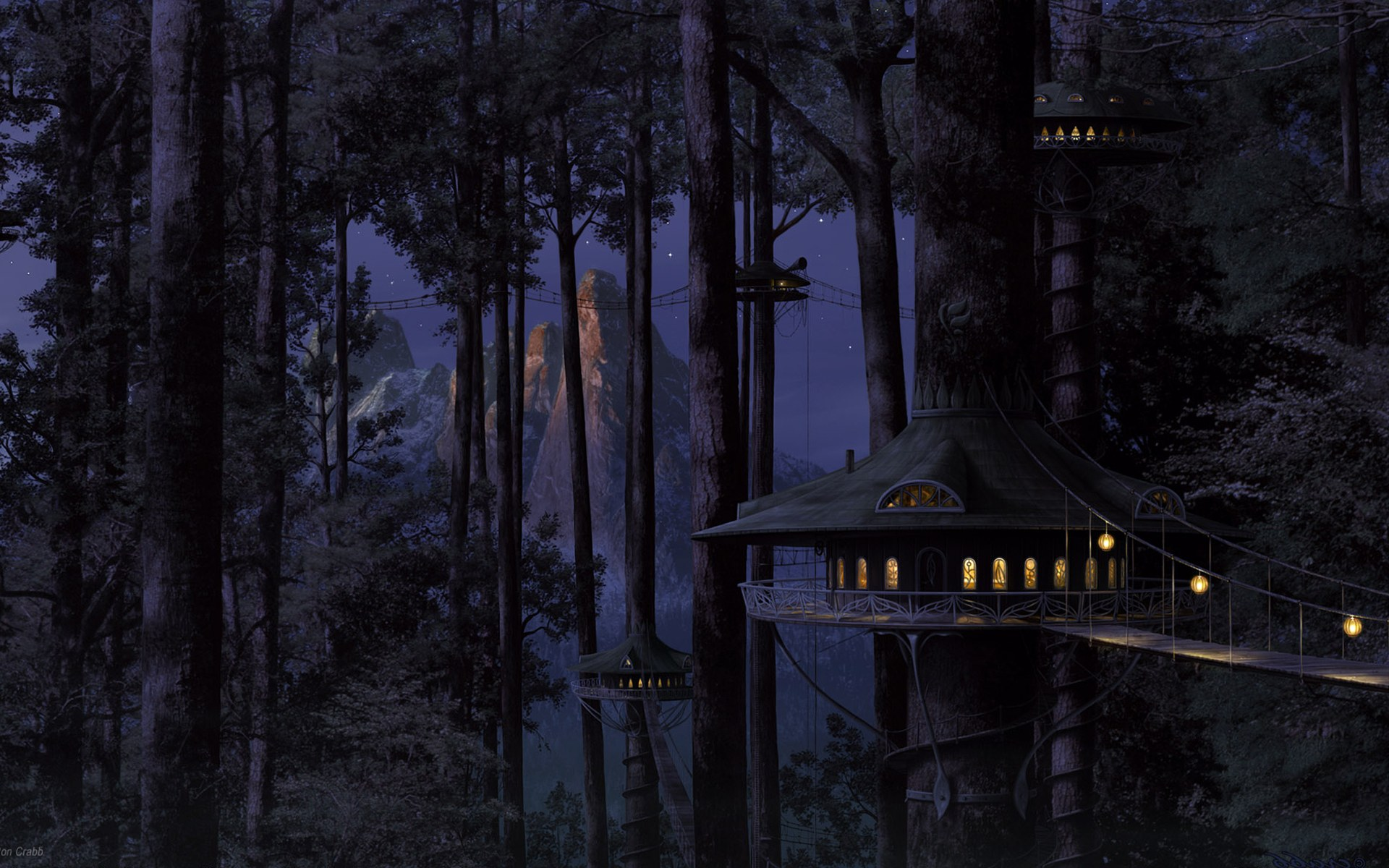 Fantasy treehouse widescreen wallpaper