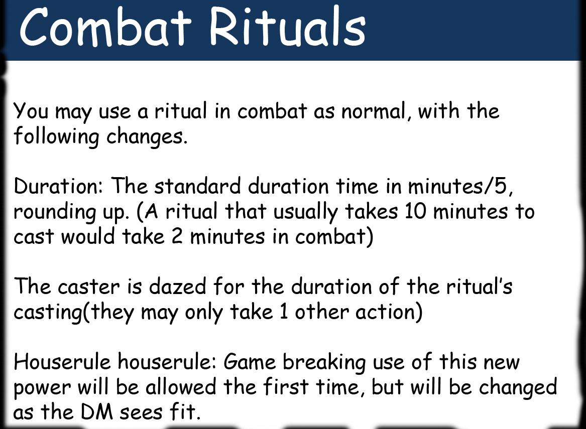 Combat rituals