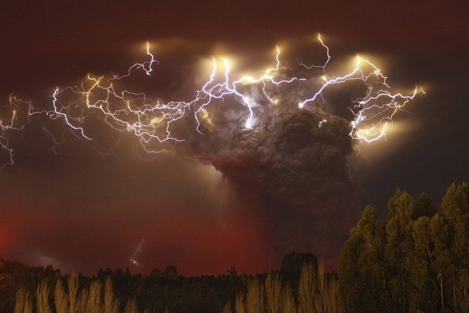Volcanic storm with lightning