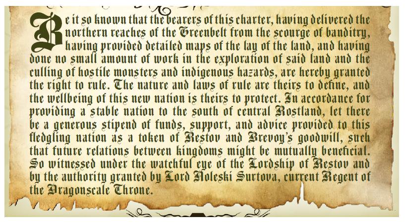 Colonization charter