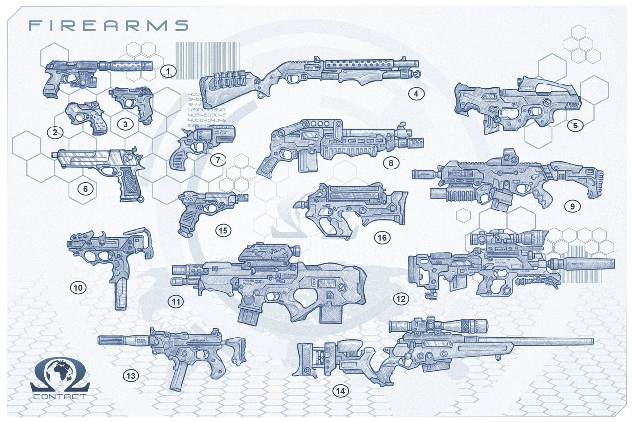 Assorted guns
