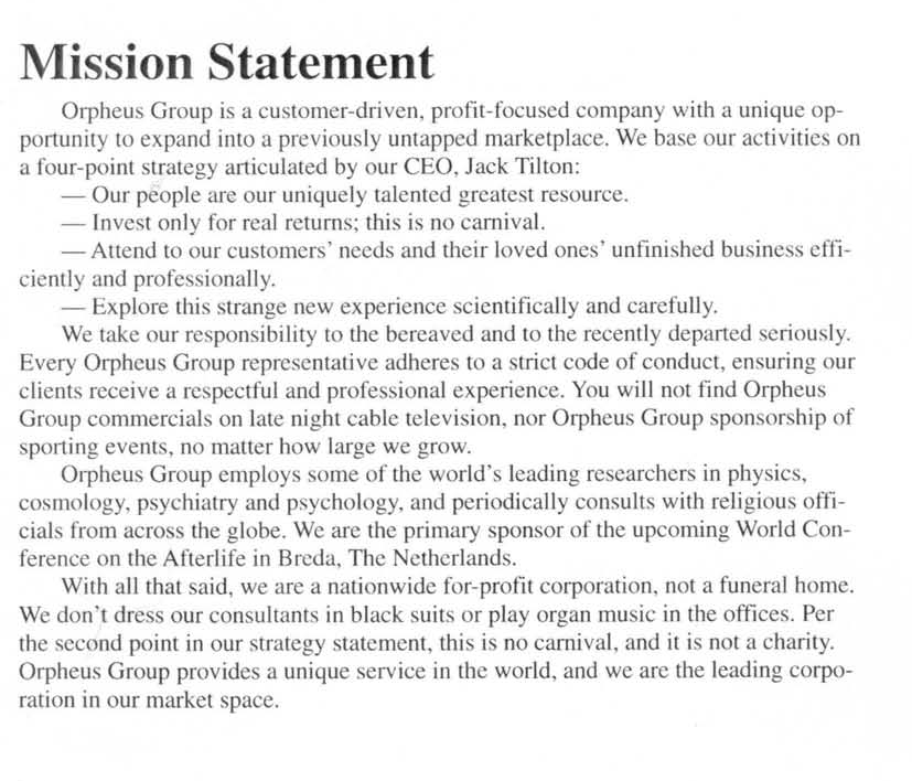 Orpheus mission statement