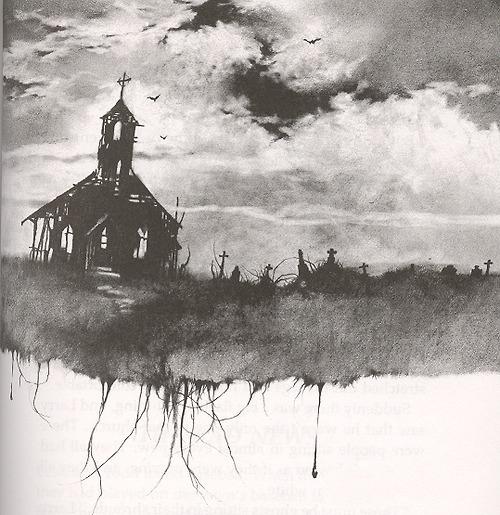 Church creepy dark gothic graveyard illustration favim.com 52414 large