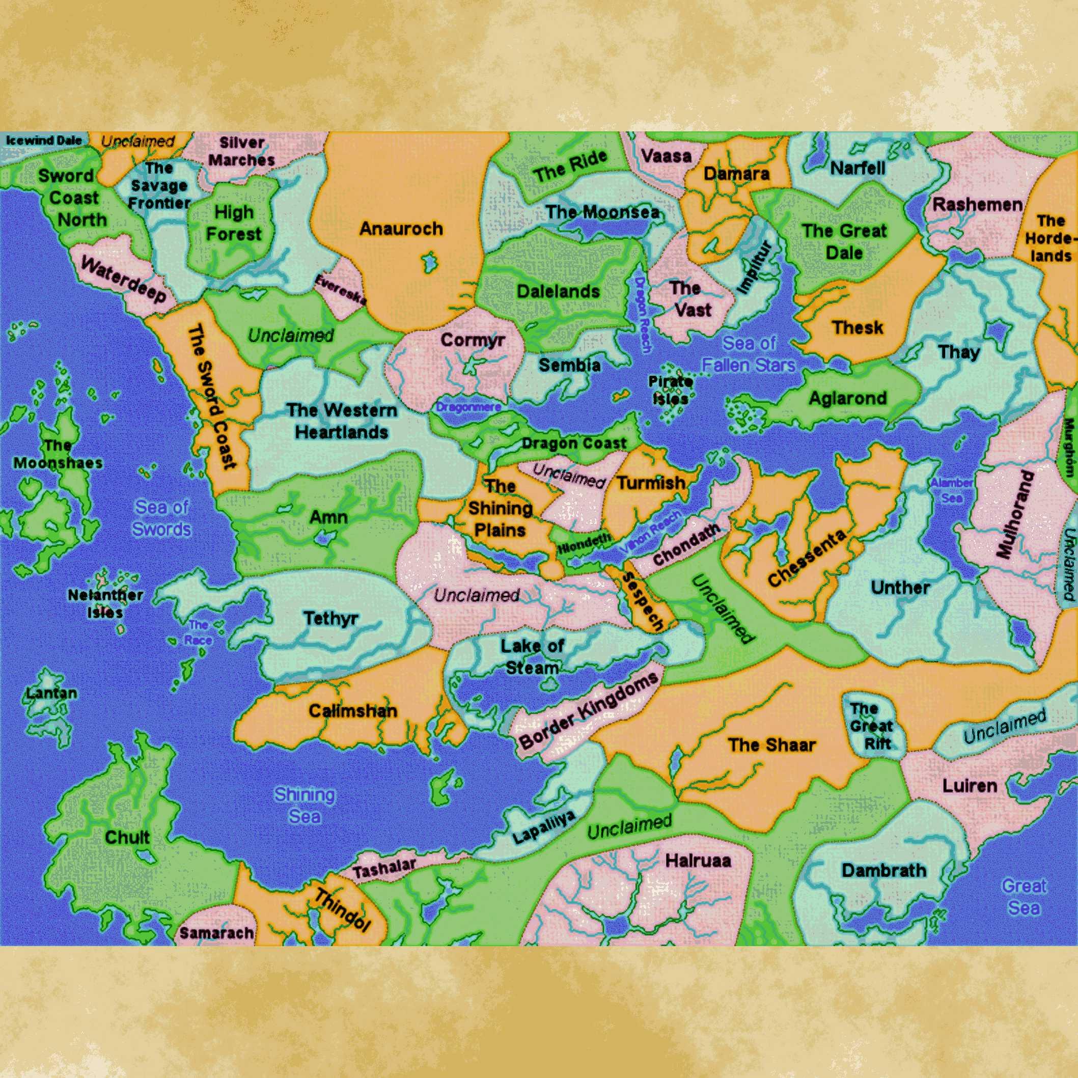 Forgotten Realms Map Faerun 3 5 – Jerusalem House